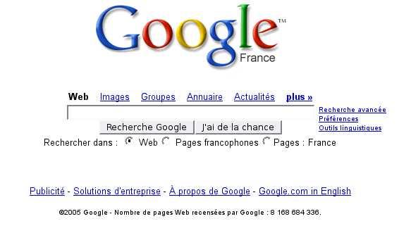 Google Septembre 2005