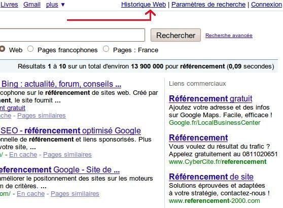 historique-web-google-personnalisation